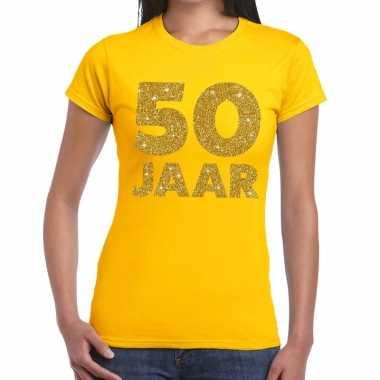 Jaar goud glitter verjaardag/jubileum kado geel dames t-shirt kopen