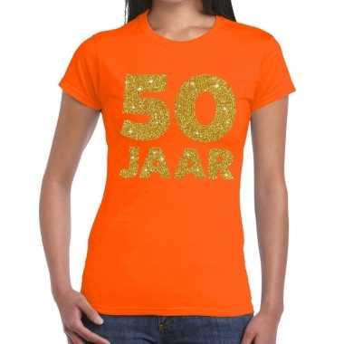 Jaar goud glitter verjaardag/jubileum kado oranje dames t-shirt kopen