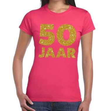 Jaar goud glitter verjaardag/jubileum kado roze dames t-shirt kopen