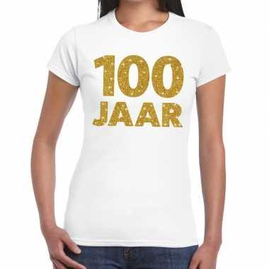 Jaar goud glitter verjaardag/jubileum kado wit dames t-shirt kopen