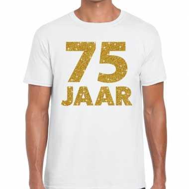 Jaar goud glitter verjaardag/jubileum kado wit heren t-shirt kopen