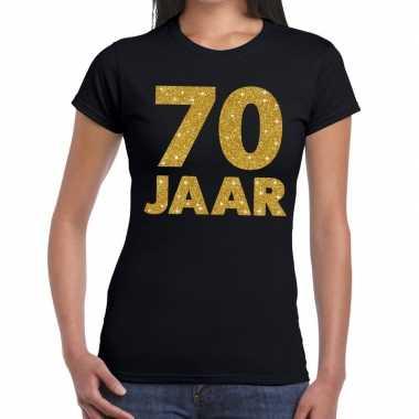 Jaar goud glitter verjaardag/jubileum kado zwart dames t-shirt kopen
