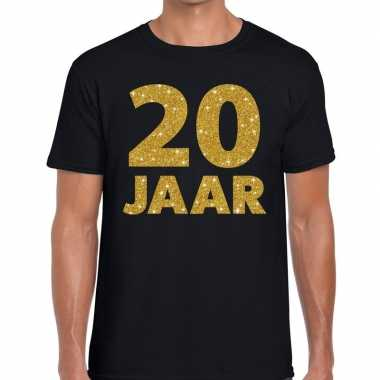 Jaar goud glitter verjaardag/jubilieum kado zwart heren t-shirt kopen