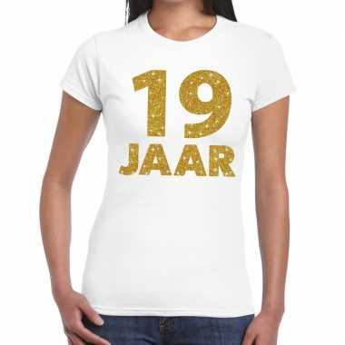 Jaar goud glitter verjaardag kado wit dames t-shirt kopen