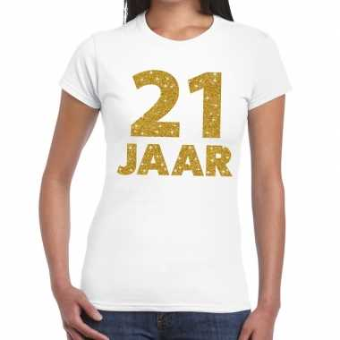 Jaar goud glitter verjaardag kado wit dames t-shirt 10155022