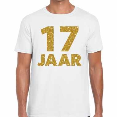 Jaar goud glitter verjaardag kado wit heren t-shirt 10154832