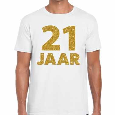 Jaar goud glitter verjaardag kado wit heren t-shirt kopen