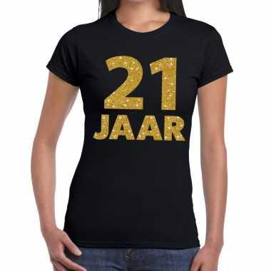 Jaar goud glitter verjaardag kado zwart dames t-shirt kopen
