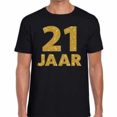 Jaar goud glitter verjaardag kado zwart heren t-shirt 10154655