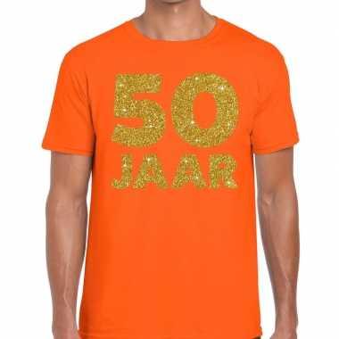 Jaar goud glitter verjaardag oranje heren t-shirt kopen