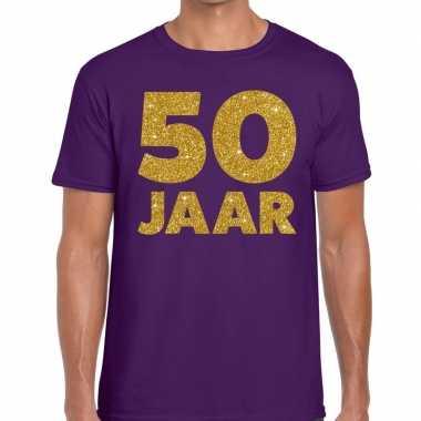 Jaar goud glitter verjaardag paars heren t-shirt kopen