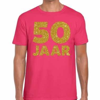 Jaar goud glitter verjaardag roze heren t-shirt kopen