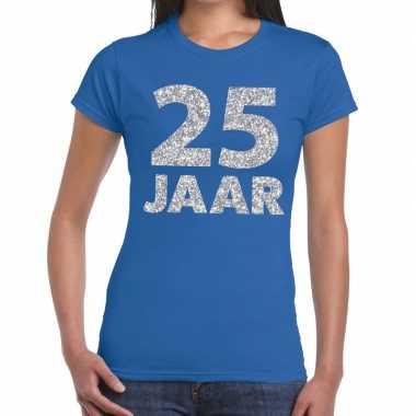 Jaar zilver glitter verjaardag/jubileum blauw dames t-shirt kopen
