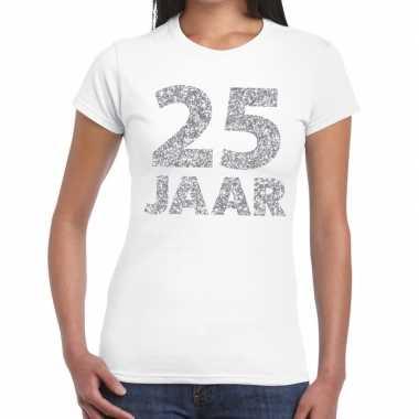 Jaar zilver glitter verjaardag/jubileum kado wit dames t-shirt kopen