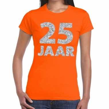 Jaar zilver glitter verjaardag/jubileum oranje dames t-shirt kopen