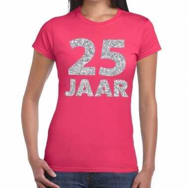 Jaar zilver glitter verjaardag/jubileum roze dame t-shirt kopen