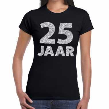 Jaar zilver glitter verjaardag/jubileum zwart dames t-shirt kopen