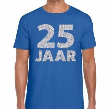 Jaar zilver glitter verjaardag/jubilieum blauw heren t-shirt kopen