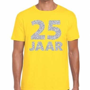 Jaar zilver glitter verjaardag/jubilieum geel heren t-shirt kopen