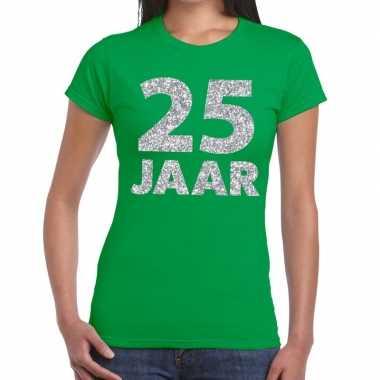 Jaar zilver glitter verjaardag/jubilieum groen dames t-shirt kopen