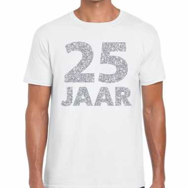Jaar zilver glitter verjaardag/jubilieum kado wit heren t-shirt kopen