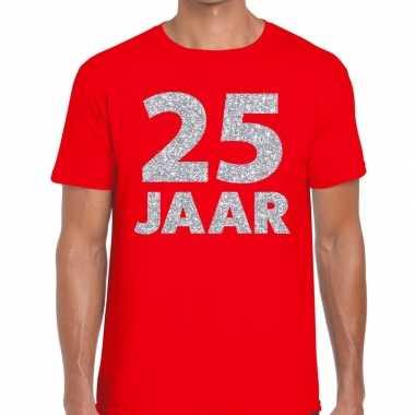 Jaar zilver glitter verjaardag/jubilieum rood heren t-shirt kopen