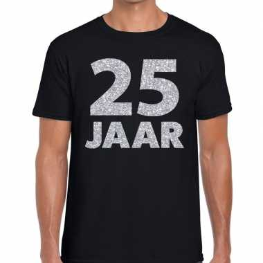 Jaar zilver glitter verjaardag/jubilieum zwart heren t-shirt kopen
