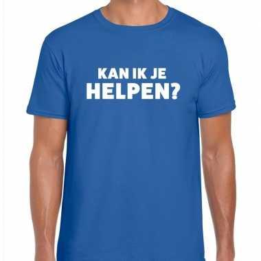 Kan ik je helpen beurs/evenementen blauw heren t-shirt kopen