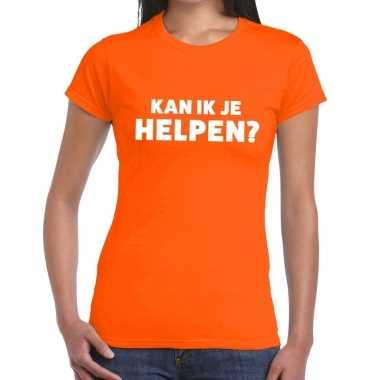 Kan ik je helpen beurs/evenementen oranje dames t-shirt kopen