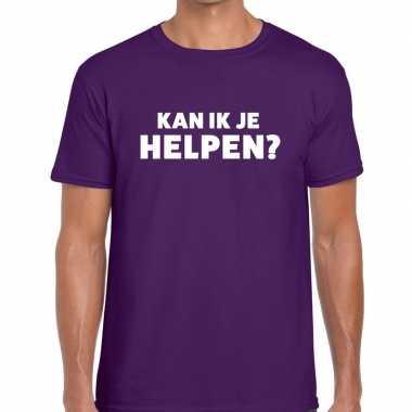 Kan ik je helpen beurs/evenementen paars heren t-shirt kopen
