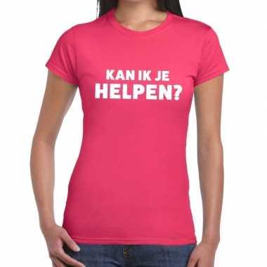 Kan ik je helpen beurs/evenementen roze dames t-shirt kopen
