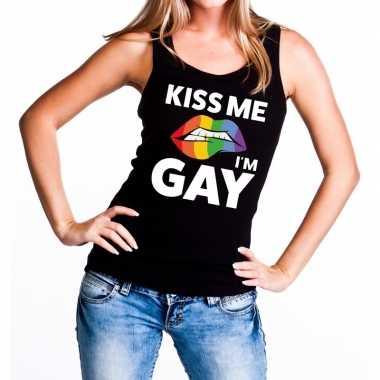 Kiss me i am gay tanktop / mouwloos zwart dames t-shirt kopen