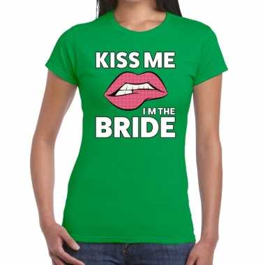 Kiss me i am the bride groen dames t-shirt kopen