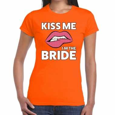 Kiss me i am the bride oranje dames t-shirt kopen