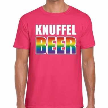 Knuffel beer gaypride roze heren t-shirt kopen