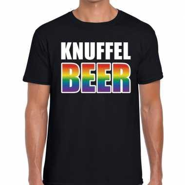 Knuffel beer gaypride zwart heren t-shirt kopen