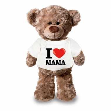 Knuffel teddybeer i love mama t-shirt kopen