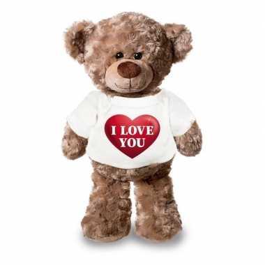 Knuffel teddybeer i love you har t-shirt kopen