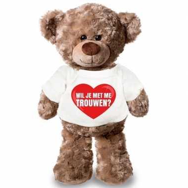 Knuffel teddybeer wil je me trouwen har t-shirt kopen