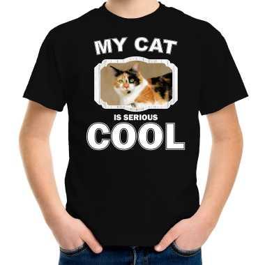 Lapjeskat katten / poezen my cat is serious cool zwart kinderen t-shirt kopen