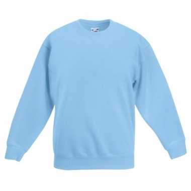 Lichtblauwe katoenmix sweater meisjes t-shirt kopen