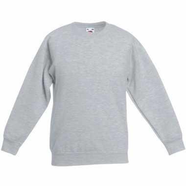 Lichtgrijze katoenmix sweater jongens t-shirt kopen