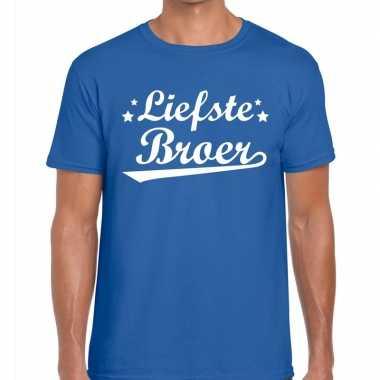 Liefste broer cadeau blauw heren t-shirt kopen
