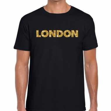London goud glitter tekst zwart heren t-shirt kopen