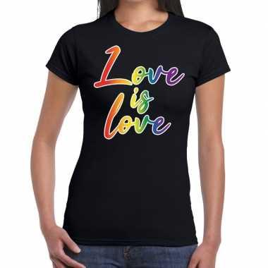 Love is love gay pride zwart dames t-shirt kopen