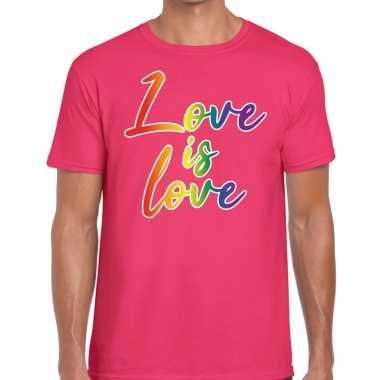 Love is love gaypride roze heren t-shirt kopen