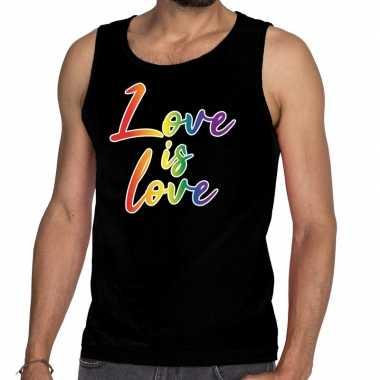 Love is love gaypride tanktop/mouwloos zwart heren t-shirt kopen