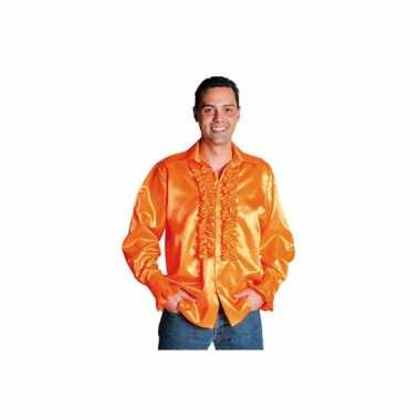 Luxe rouches blouse oranje t-shirt