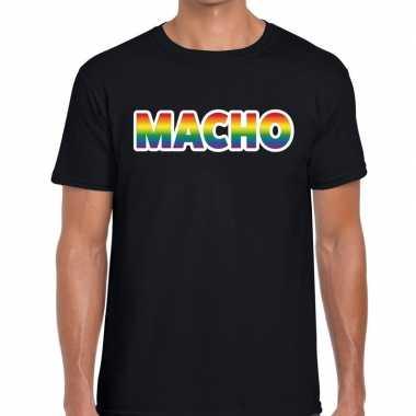 Macho regenboog gaypride zwart heren t-shirt kopen