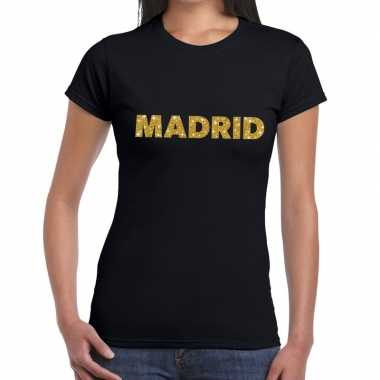 Madrid gouden glitter tekst zwart dames t-shirt kopen
